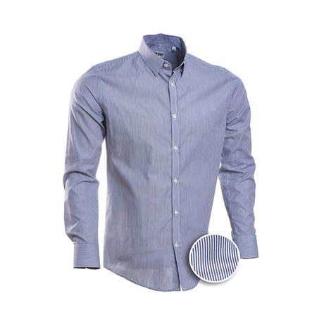 Hairline Stripe Slim Fit Dress Shirt // Navy (S)