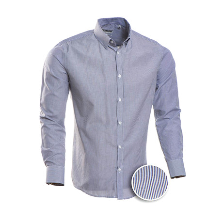 Pencil Stripe Slim Fit Dress Shirt // Grayish Blue (S)