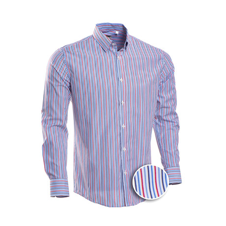 Lang Striped Slim Fit Dress Shirt // Multicolor (S)