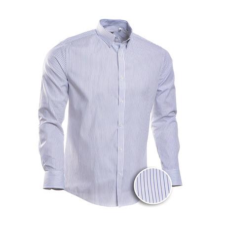 Ochoa Striped Slim Fit Dress Shirt // Blue (S)