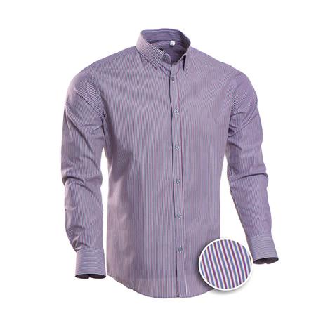 Striped Slim Fit Dress Shirt // Red + Gray