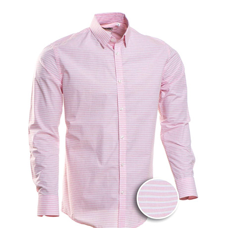 McCarty Striped Slim Fit Dress Shirt // Pink (S)