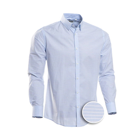 Vertical Striped Slim Fit Dress Shirt // Blue