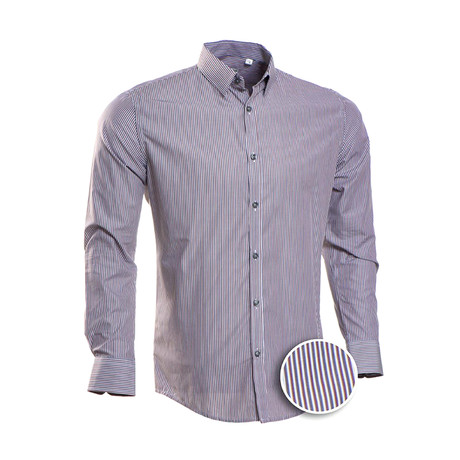 Strong Striped Slim Fit Dress Shirt // Wine + Gray (S)
