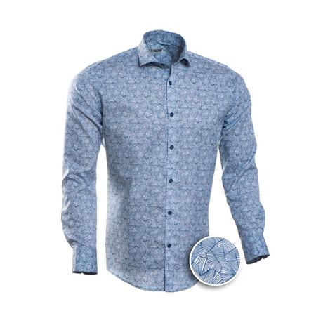 Ellison Patterned Slim Fit Dress Shirt // Geometric Blue (S)