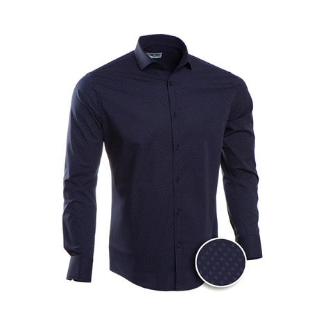 Patterned Slim Fit Dress Shirt // Oxford Blue (S)