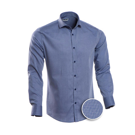 Patterned Slim Fit Dress Shirt // Cornflower Blue (2XL)