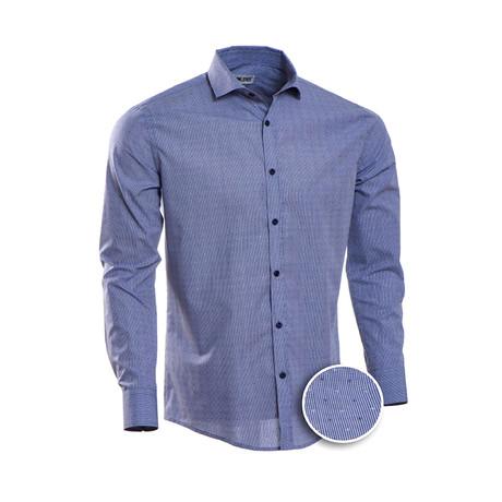 Pin Checkered Slim Fit Dress Shirt // Blue (2XL)
