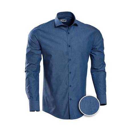 Patterned Slim Fit Dress Shirt // Cobalt Blue (S)