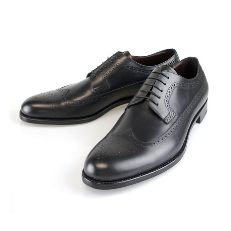 Ermenegildo Zegna // Leather Wingtip Oxfords // Black (US: 8)