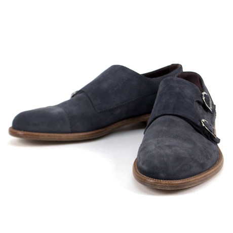 Suede Double Monk Strap Shoe // Gray