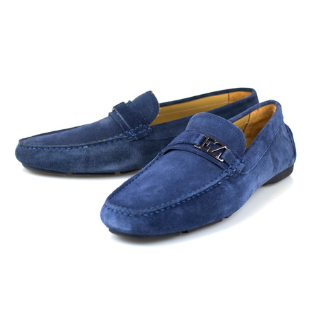 Suede Leather Driver Moccasins // Blue