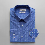 Patterned Slim Fit Dress Shirt // Lapis Blue (S)