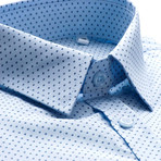 Davies Patterned Slim Fit Dress Shirt // Light Blue (XL)