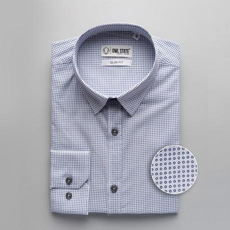 Little Patterned Slim Fit Dress Shirt // Sky Blue (S)