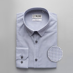 Little Patterned Slim Fit Dress Shirt // Sky Blue (2XL)