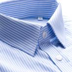 Pencil Stripe Slim Fit Dress Shirt // Sky Blue (S)