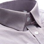 Hairline Stripe Slim Fit Dress Shirt // Maroon + Gray (L)
