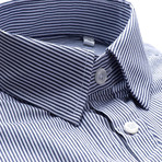 Hairline Stripe Slim Fit Dress Shirt // Navy (2XL)
