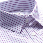 Mendoza Striped Slim Fit Dress Shirt // Purple (L)