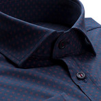 Patterned Slim Fit Dress Shirt // Oxford Blue (S)