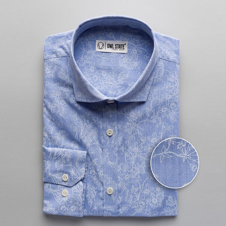 Cordova Patterned Slim Fit Dress Shirt // Floral Blue (S)