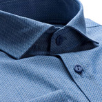 Patterned Slim Fit Dress Shirt // Cobalt Blue (XL)