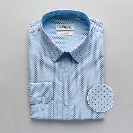 Davies Patterned Slim Fit Dress Shirt // Light Blue (S)