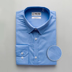 Solid Slim Fit Dress Shirt // Blue (XL)
