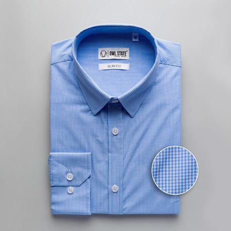 Mitchell Checkered Slim Fit Dress Shirt // Blue (S)