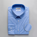 Mitchell Checkered Slim Fit Dress Shirt // Blue (L)