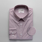 Hairline Stripe Slim Fit Dress Shirt // Maroon + Gray (XL)