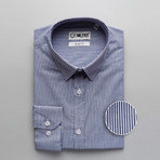 Hairline Stripe Slim Fit Dress Shirt // Navy (XL)