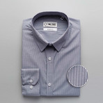 Pencil Stripe Slim Fit Dress Shirt // Grayish Blue (XL)