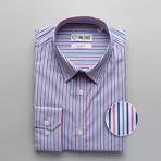 Striped Slim Fit Dress Shirt // Multicolor (XL)