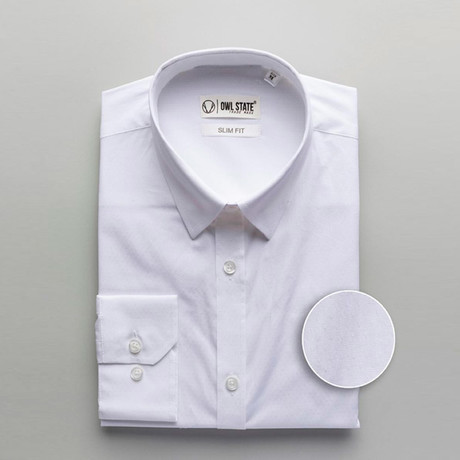 Hawkins Patterned Slim Fit Dress Shirt // White (S)