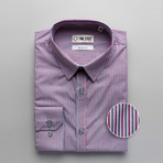 Striped Slim Fit Dress Shirt // Red + Gray (M)