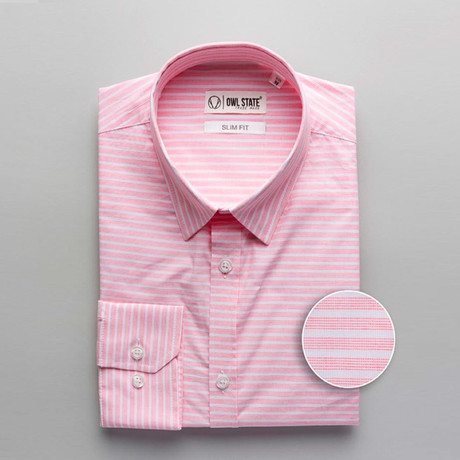 Mccarty Striped Slim Fit Dress Shirt // Pink (S)