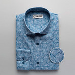 Ellison Patterned Slim Fit Dress Shirt // Geometric Blue (XL)