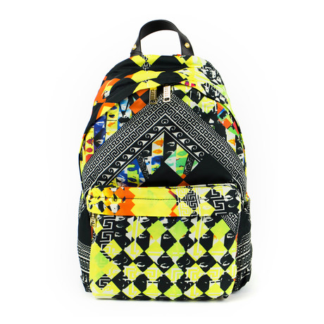 Versace Versus // Pattern Backpack // Orange Back