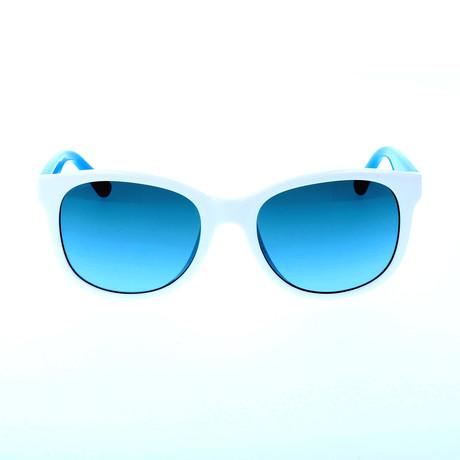 Riaan Round Wayfarer // White + Blue