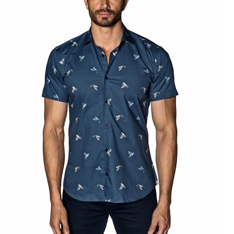 Woven Short Sleeve Button-Up // Navy Hummingbirds (S)