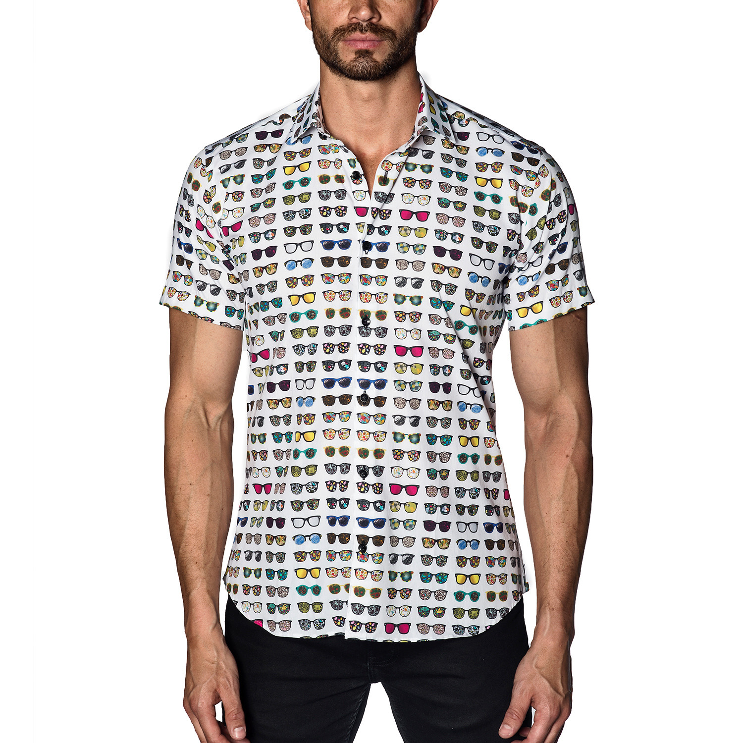 Woven Short Sleeve Button-Up // White Multi Sunglasses (S ...