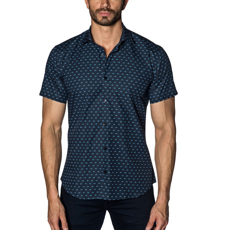 Woven Short Sleeve Button-Up // Navy Scooters