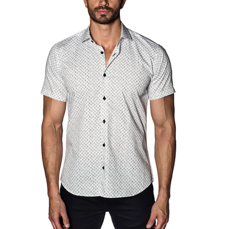 Diamonds Short Sleeve Button-Up Shirt // White (S)