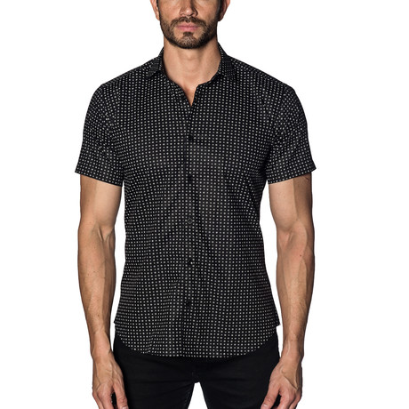 Woven Short Sleeve Button-Up // Black (S)