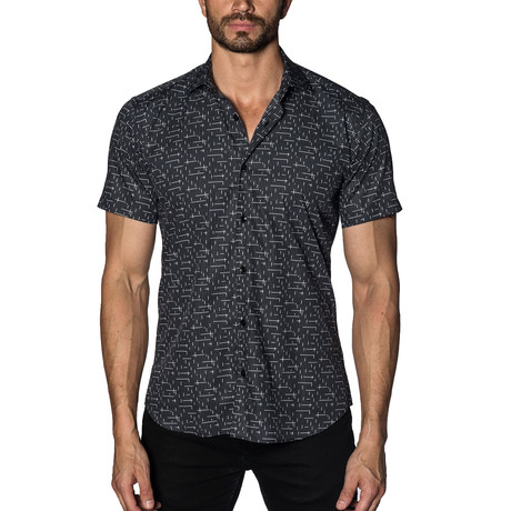 Woven Short Sleeve Button-Up // Black + White Print