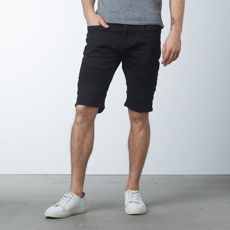 Denim Moto Shorts // Black