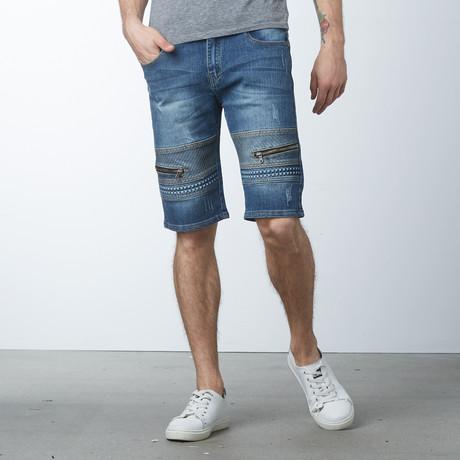 Modern Zippered Shorts // Medium Blue