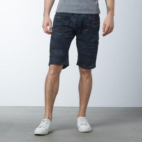 Camo Moto Shorts // Navy Camo (30)